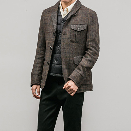 [BT1145]Check Raw Cut Blazer( 1 color S/M/L size )