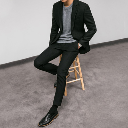[BT2724]Woolen Suit - Black( 1 color S~XL size )