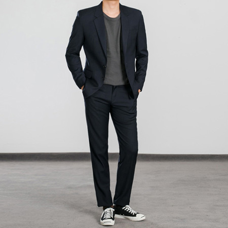 [BS0765]Morris Suit  - Navy( 1 color M~XXL size )