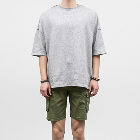 [BF1003]Box-cut Half Tee( 2 color Free size )