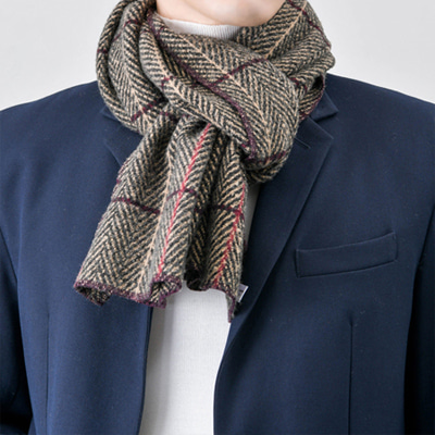 [BY2258]Herringbone Check Muffler( 4 color Free size )