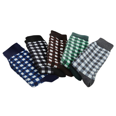 [BJ2889]Gingham Socks( 5 color Free size )