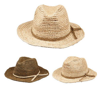 [BF1849]Rope Straw Fedora ( 2 color Free size )