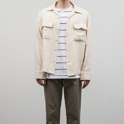 [BE2666]Over Linen Shirts Jacket( 4 color Free size )