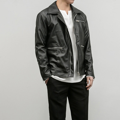 [BB0861]Zip Leather Jacket( 1 color M/L size )