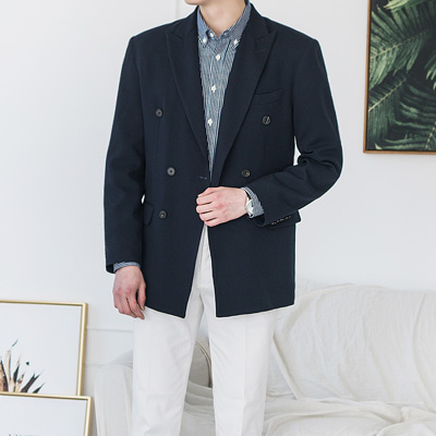 [BC1555]Firenze double Jacket - Navy( 1 color M/L/XL size )