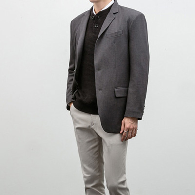 [BC2896]Mas Single blazer-grey( 1 color M/L/XL size )