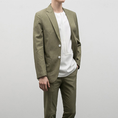 [BE1233]Line Single Blazer - Khaki( 1 color S/M/L size )