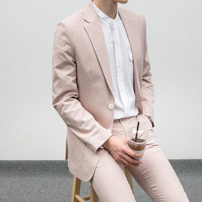 [BE1238]Line Single Blazer - Pink( 1 color S/M/L size )