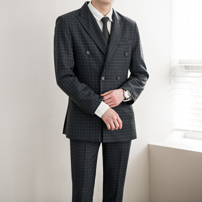 [BA1622][Premium]Square Check Double Blazer( 1 color L~5XL size )