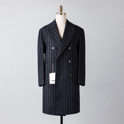 [BX2849]Double Stripe Over Coat_navy( 1 color M/L size )