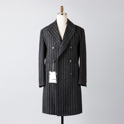 [BX2850]Double Stripe Over Coat_charcoal( 1 color M/L size )