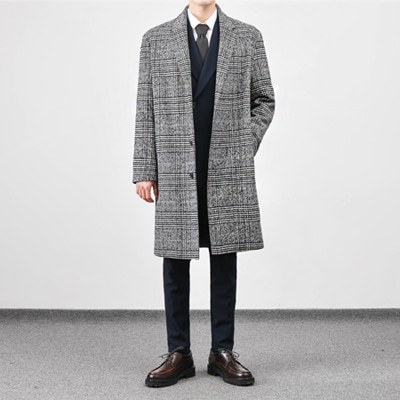[BS2912]OVERLONG CHECK COAT( 1 color L/XL size )