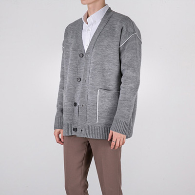[BT1222]Wool Double Line Cardigan( 3 color Free size )