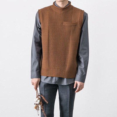 [BT2698]Pocket Knit Vest( 3 color Free size )