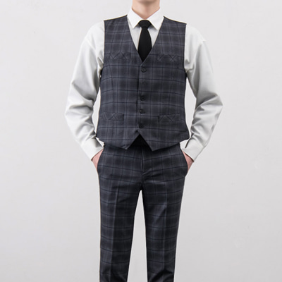 [BA3164]Dark Check Vest( 1 color Free size )