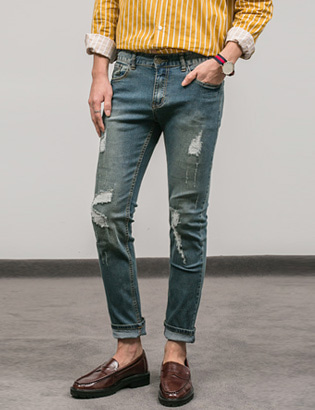 [BS0744]Tripe Tension Jeans( 2 color S~XXL size )