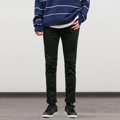 [BY0968]F/W Knife Black Jeans( 1 color S~XL size )