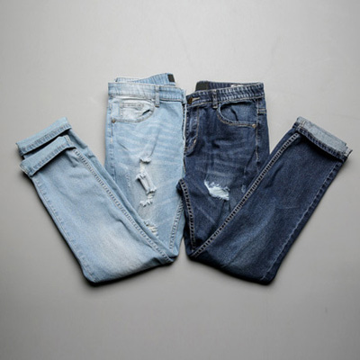 [BB0871]Banded Damage Jeans( 2 color S~XXL size )
