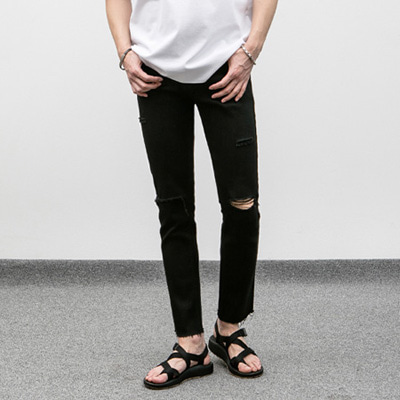 [BJ0262]Damage Cut Black Jeans( 1 color S~XL size )