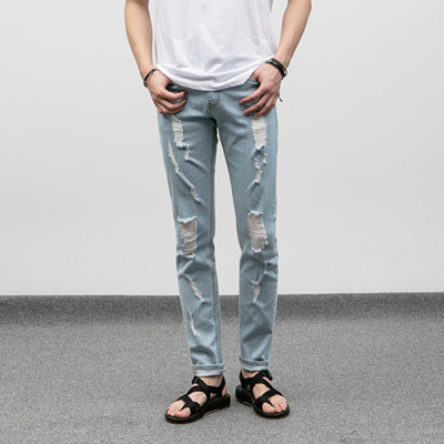 [BJ0259]Tension Damage Jeans( 1 color S~XL size )