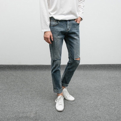 [BP3005]Cut Washed Jean( 1 color S~XXL size )