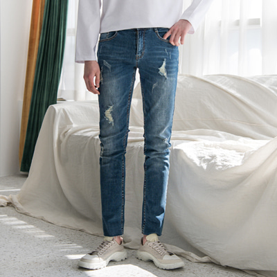 [BC1645]Sky Damage Jeans(  1color S~XL size )