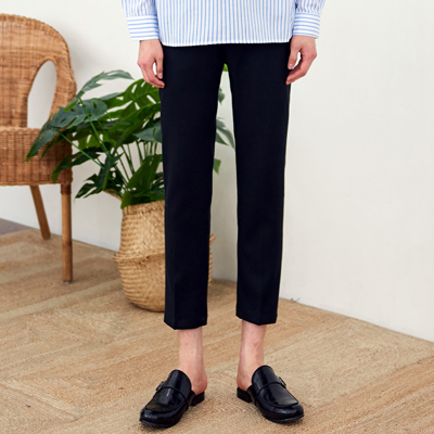 [BE0516]Simple Banded Slacks( 3 color S/M/L size )