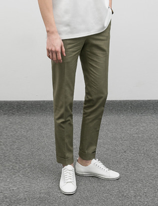 [BE1234]Rollup Cotton Pants - Khaki( 1 color S/M/L size )