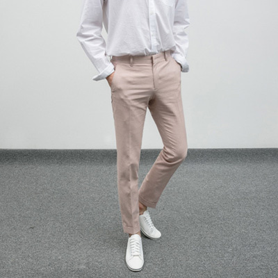 [BE1239]Rollup Cotton Pants - Pink( 1 color S/M/L size )
