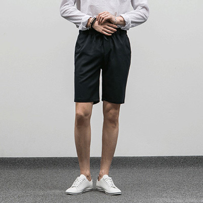 [BE2669]1+1Basic Half Banding Slacks( 3 color M/L/XL size )