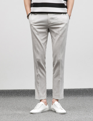 [BF1093]Turn-up Light Slacks( 2 color M/L size )