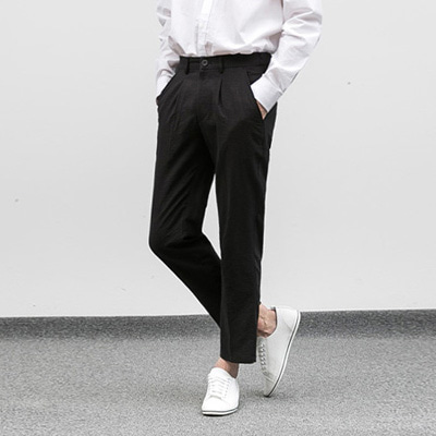 [BF1098]Seersucker Black Slacks( 1 color M/L size )