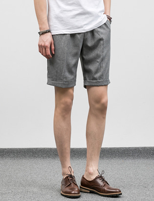 [BF1095]Turn-up Half Slacks( 5 color M/L size )