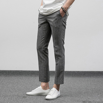 [BF2439]Bokashi Stripe Linen Slacks-grey( 1 color S~XL size )
