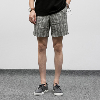[BF2428]Turn-up Check Half Slacks( 2 color M/L size )