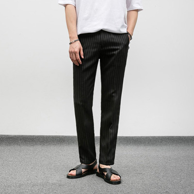 [BJ0809]Light Stripe Slacks - black( 1 color S~XL size )