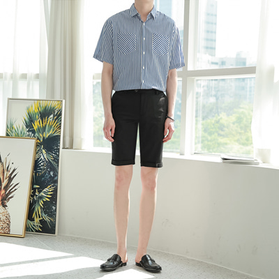 [BE2561]1+1Stripe Two Pocket Shirts+Cabra Shorts Slacks