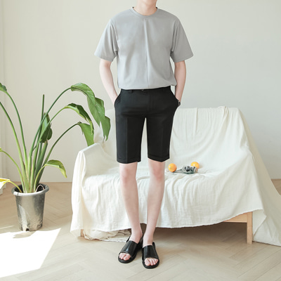 [BE2560]1+1Pansy Short-sleeve+Cabra Shorts Slacks