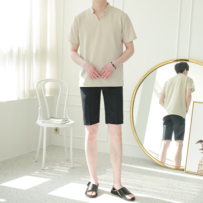 [BE2562]1+1Fake Cara Short-sleeve+Side Band Shorts Slacks