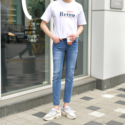 [BF0887]Retro Tshirts+Slim Span Cutting Jeans