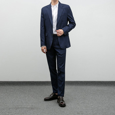 [BP3015]Fog Check Suit - navy( 1 color M~XXL size )