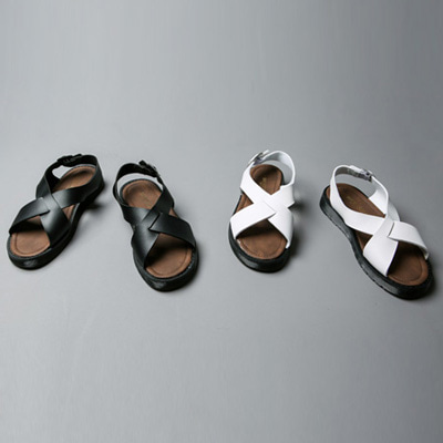 [BJ0885]Cross Leather Sandal( 2 color 250~280 size )