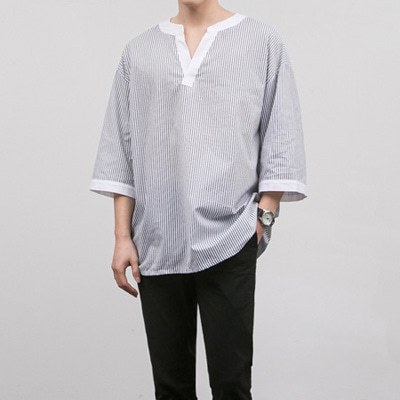 [BE0506]Box V-neck Shirts( 6 color Free size )
