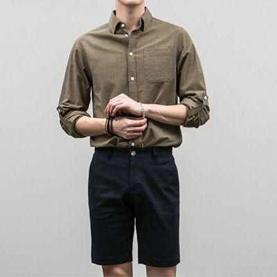 [BE2663]Washed Linen Shirts( 4 color S/M/L size )