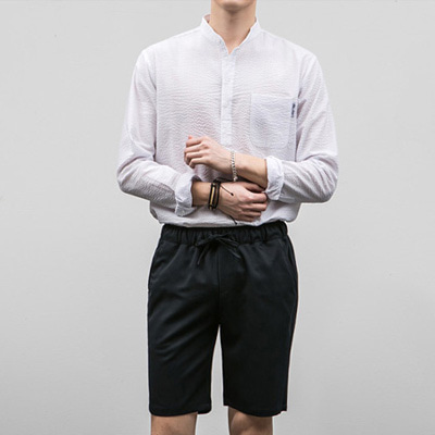 [BE2672]Seer-sucker Henly Shirts( 1 color S/M/L size )