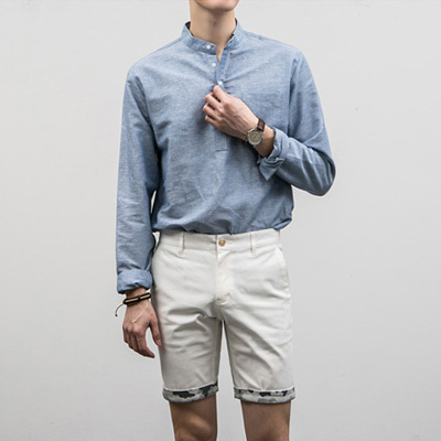 [BE2673]Slub Pocket Linen Shirts( 1 color S~XL size )