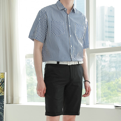 [BE2547]Stripe Two Pocket Shirts( 2 color Free size )