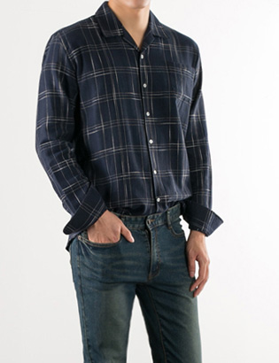 [BS2799]Silk Check Shirts( 2 color M/L size )