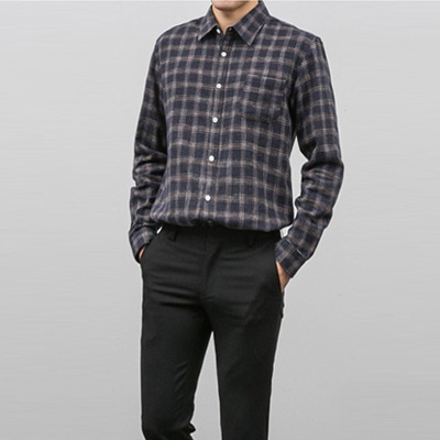 [BX1094]Herringbone Check Shirts( 4 color Free size )